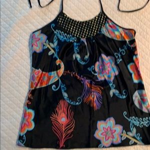 Trina Turk black print silk halter top